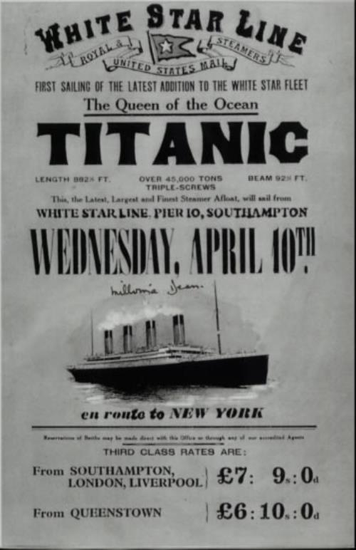RMS Titanic Reproduction Of White Star Line Poster  Autographed 1998 UK memorabilia SIGNED MEMORABILIA