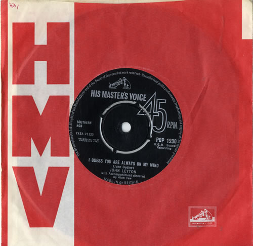 John Leyton I Guess You Were Always On My Mind 1963 UK 7 vinyl POP1230