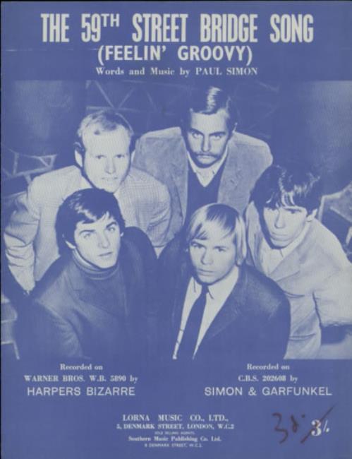 Harpers Bizarre The 59th Street Bridge Song [Feelin\' Groovy] 1967 UK sheet music SHEET MUSIC