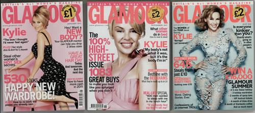 Kylie Minogue Glamour  3 Travel Size Issues UK magazine 3 MAGAZINES