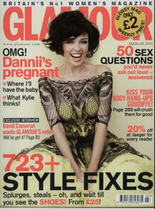 Dannii Minogue Glamour  Travel size 2010 UK magazine MARCH 2010