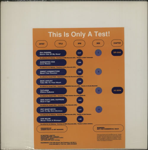 VariousDance This Is Only A Test! 1988 USA 12 vinyl SP008