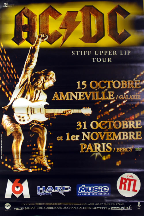 ACDC Stiff Upper Lip Tour 2000 French poster 31 X 46
