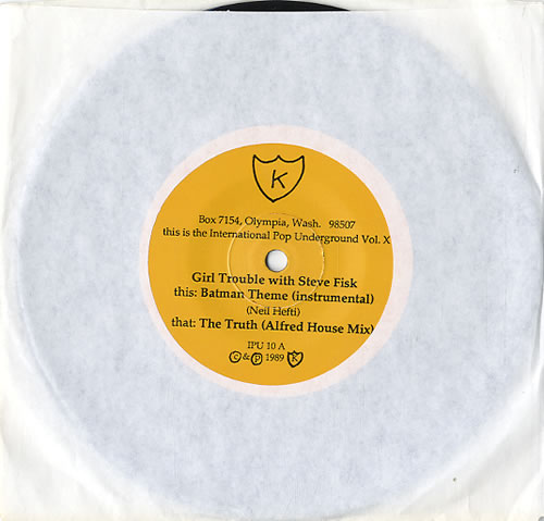 "Image of Girl Trouble Batman Theme (Instrumental) 1989 USA 7"" vinyl IPU10"