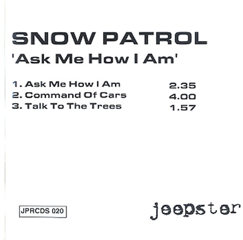 Snow Patrol Ask Me How I Am 2000 UK CD single CDR
