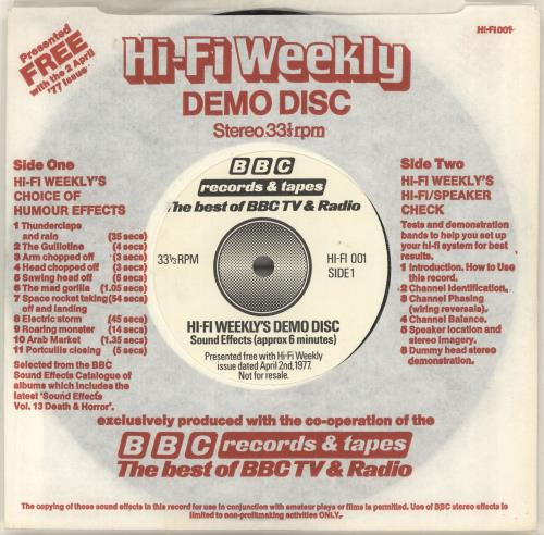 VariousEducational Informational & Historical HiFi Weeklys Demo Disc 1977 UK 7 vinyl HIFI001