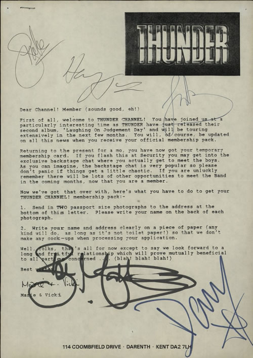 Thunder Thunder Channel Welcome Letter  Autographed  Ticket Stub 1992 UK memorabilia AUTOGRAPHED