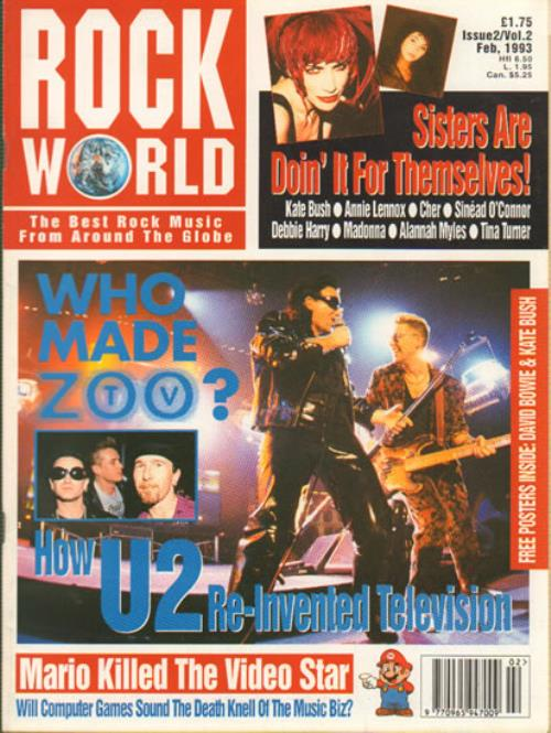 U2 U2  Rock World Number 2 1993 UK magazine FEBRUARY 1993