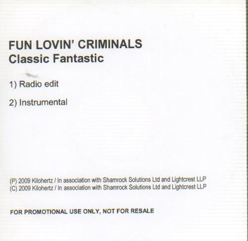 Fun Lovin Criminals Classic Fantastic 2009 UK CD-R acetate CD-R