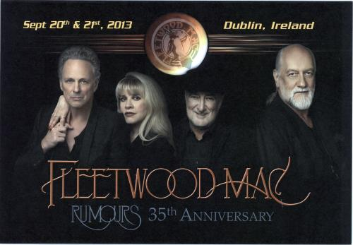 Fleetwood Mac Rumours 35th Anniversary  Dublin 2013 UK artwork ARTWORK PRINT