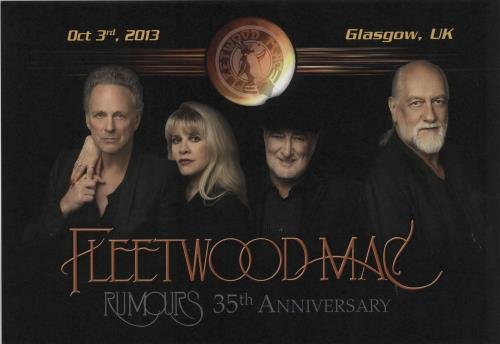 Fleetwood Mac Rumours 35th Anniversary  Glasgow 2013 UK artwork ARTWORK PRINT
