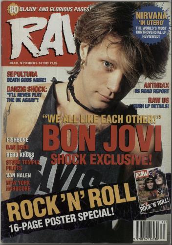 Bon Jovi Raw No.131 1993 UK magazine RAW