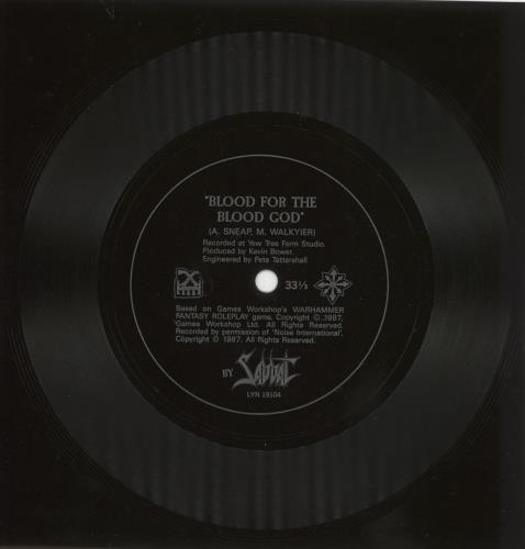 Sabbat Blood For The Blood God  flexi 1987 UK 7 vinyl LYN19104