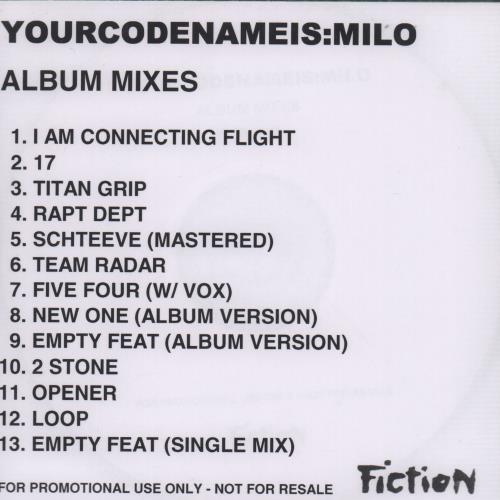 Image of Yourcodenameis:Milo Ignoto: Album Mixes 2005 UK CD-R acetate CD-R