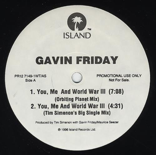 Gavin Friday You Me And World War Iii 1996 USA 12 vinyl PR127149
