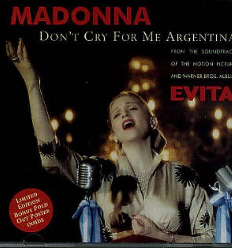 Madonna Dont Cry For Me Argentina  Poster Sleeve 1996 Australian CD single 9362438302