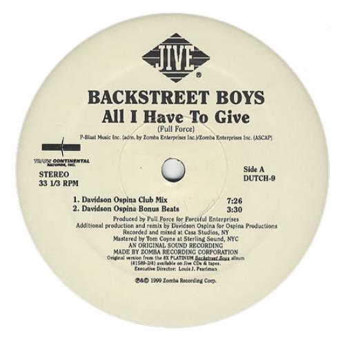 Backstreet Boys All I Have To Give Double Pack Us Promo