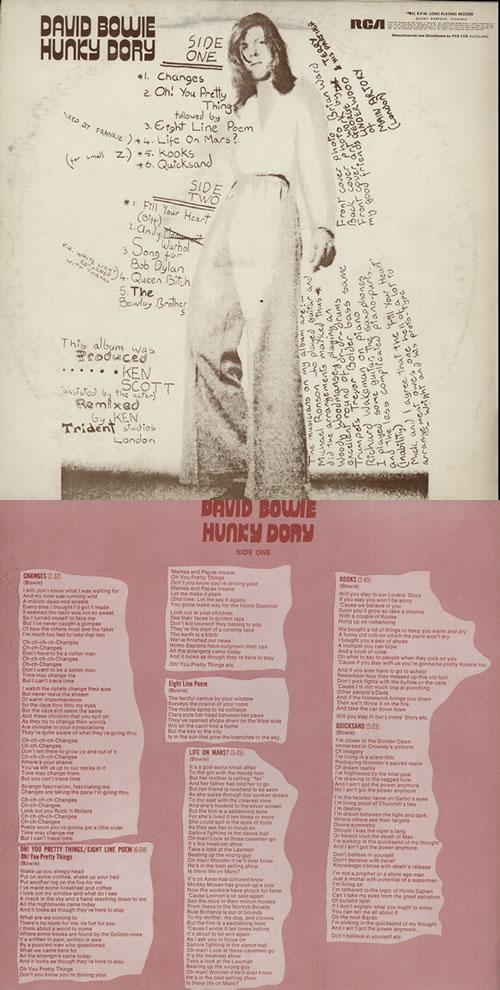 David Bowie Hunky Dory Lyric Insert New Zealand Vinyl Lp