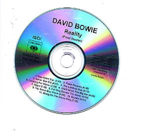 David Bowie Reality (Final Master) CD-R acetate US BOWCRRE256716