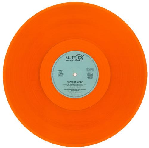 depeche mode never let me down again orange vinyl german 12 vinyl single 12 inch record. Black Bedroom Furniture Sets. Home Design Ideas