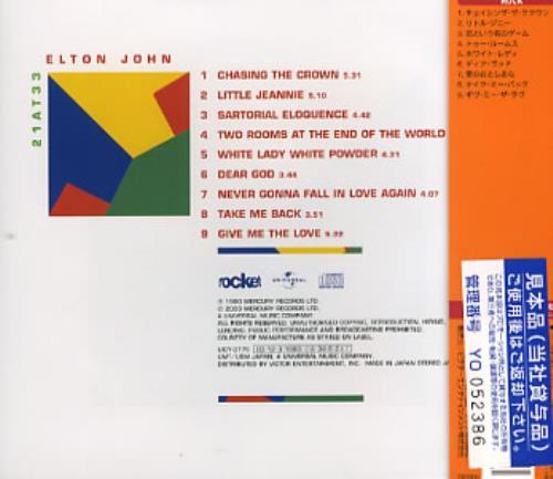 Elton John 21 At 33 Japanese Promo Cd Album Cdlp 353754