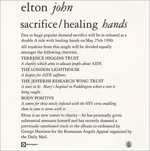 Elton John Sacrifice Promo Insert Card Uk Promo 7