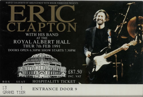 eric clapton royal albert hall 1991 souvenir ticket stub uk tour programme 209985 tour programme. Black Bedroom Furniture Sets. Home Design Ideas