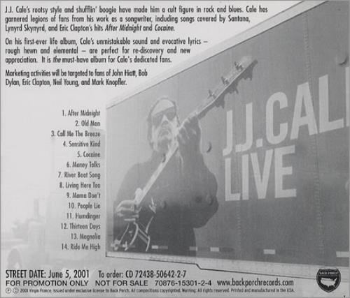 J J Cale Live Us Promo Cd Album Cdlp 192449