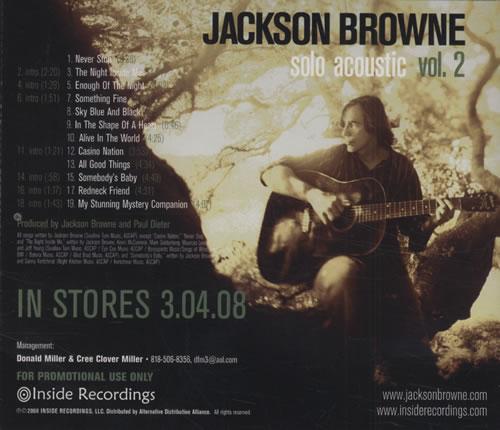 Jackson Browne Solo Acoustic Vol. 2 US Promo CD album ...