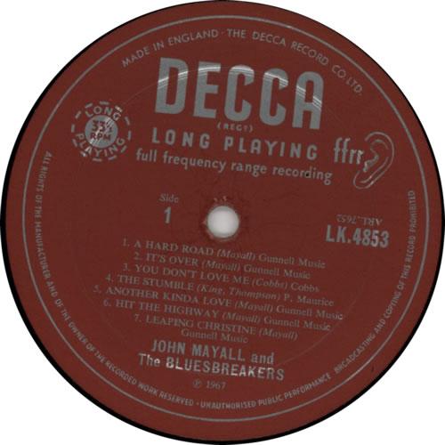 John Mayall A Hard Road Uk Vinyl Lp Album Lp Record 157825