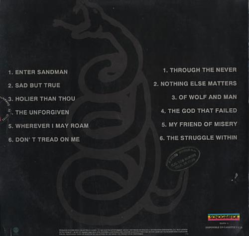 Metallica Metallica Black Album Venezuelan Vinyl Lp