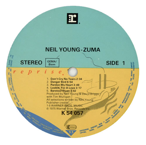 Neil Young Zuma German Vinyl Lp Album Lp Record 461461