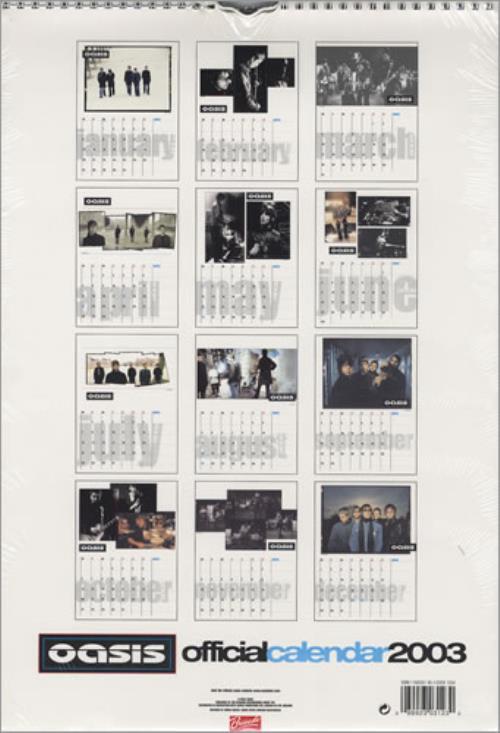 Oasis Calendar 2003 UK calendar (225439) 123