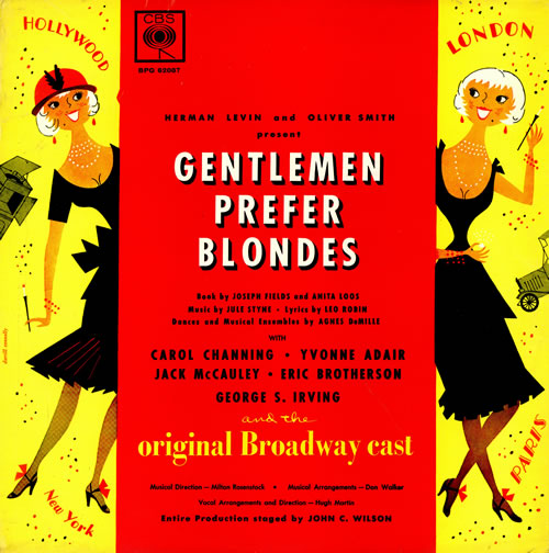 Original Cast Recording Gentlemen Prefer Blondes Uk Vinyl