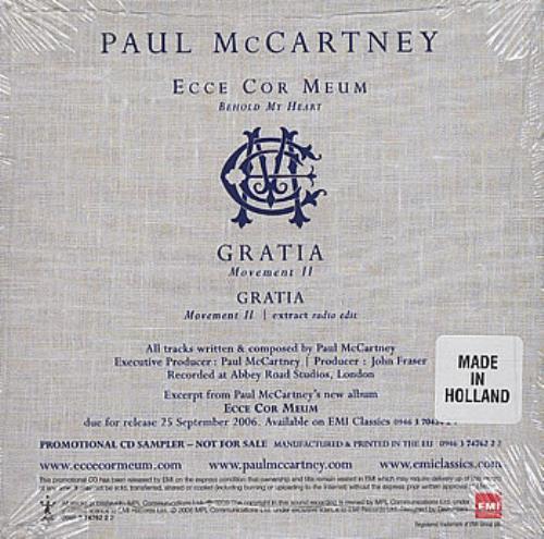 Paul McCartney and Wings Ecce Cor Meum (Behold My Heart) CD single (CD5