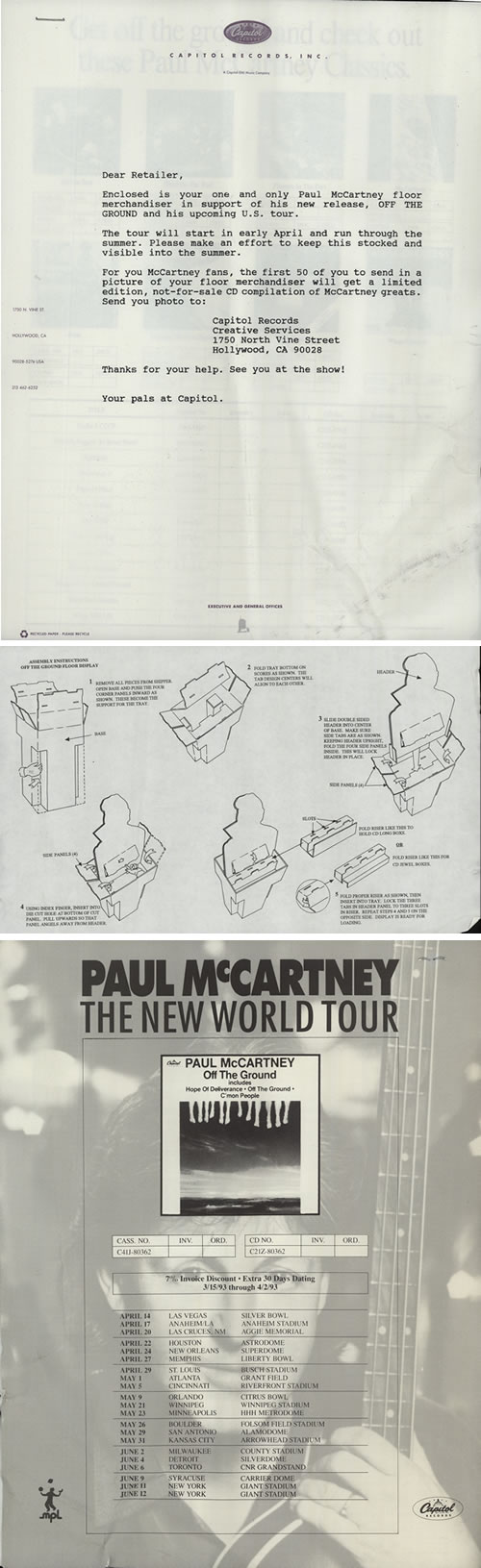 paul mccartney and wings off the ground floor display us promo