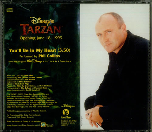 Phil Collins You Ll Be In My Heart Us Promo Cd Single Cd5