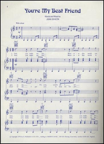 You re My Best Friend Sheet Music Queen - FREE SHEET MUSIC PDF