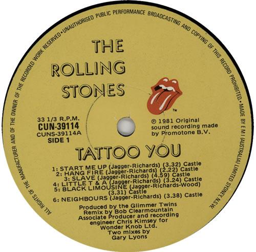 Rolling Stones Tattoo You Australian Vinyl Lp Album Lp