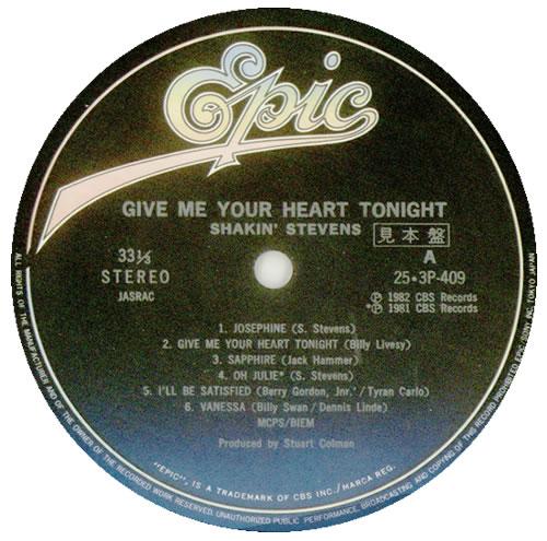 Shakin Stevens Give Me Your Heart Tonight Japanese Promo