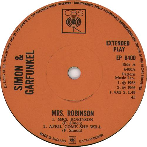 Simon Amp Garfunkel Mrs Robinson Ep Uk 7 Quot Vinyl Single 7