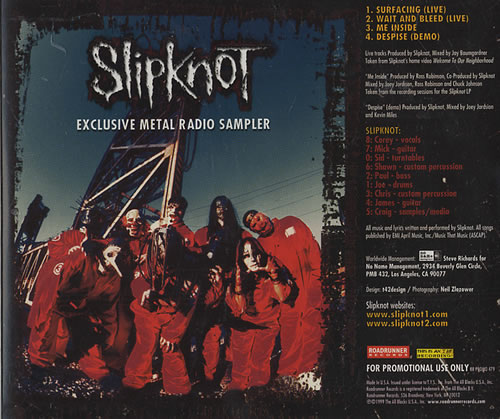 Slipknot Exclusive Metal Radio Sampler Us Promo Cd Single