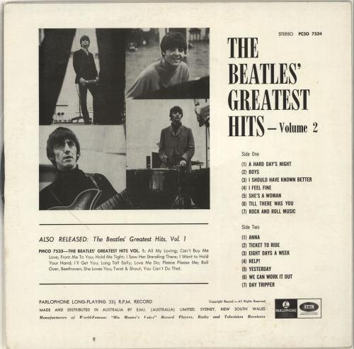 The Beatles Greatest Hits Volume 2 Australian Vinyl Lp