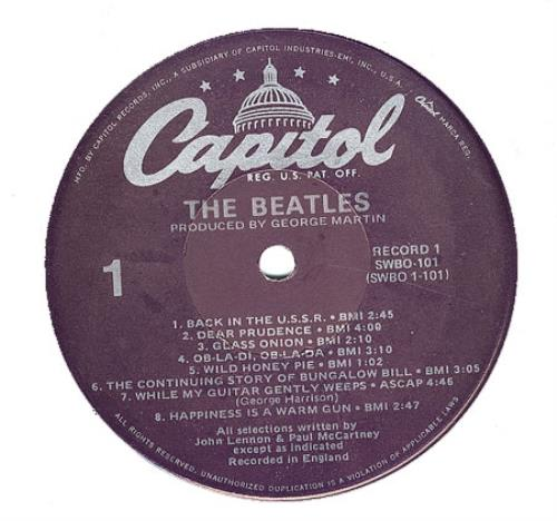 The Beatles The Beatles White Album Purple Label Us 2