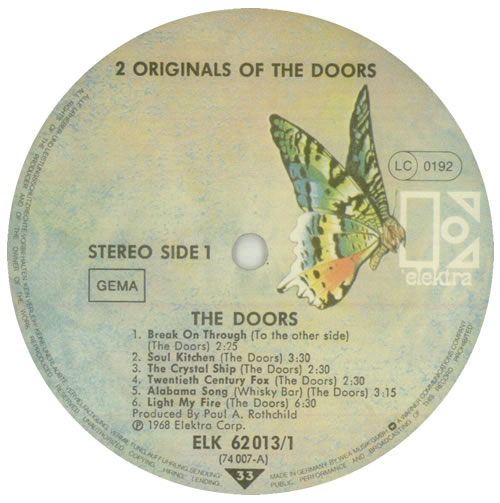 The Doors 2 Originals Of The Doors - Butterfly Label 2-LP vinyl record set