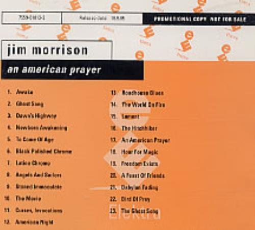 The Doors An American Prayer German Promo Cd Album Cdlp