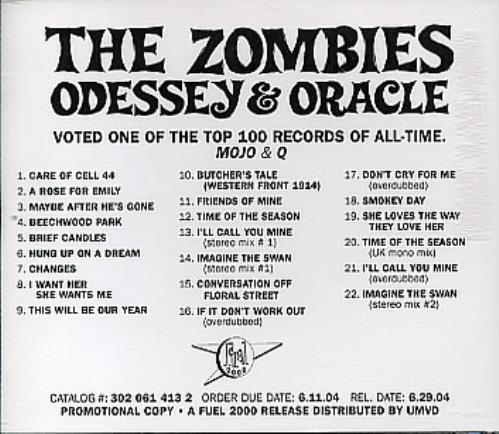 The Zombies Odessey Amp Oracle Us Promo Cd Album Cdlp 295648