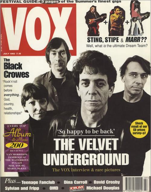Velvet Underground Vox July 1993 Uk Magazine 280859