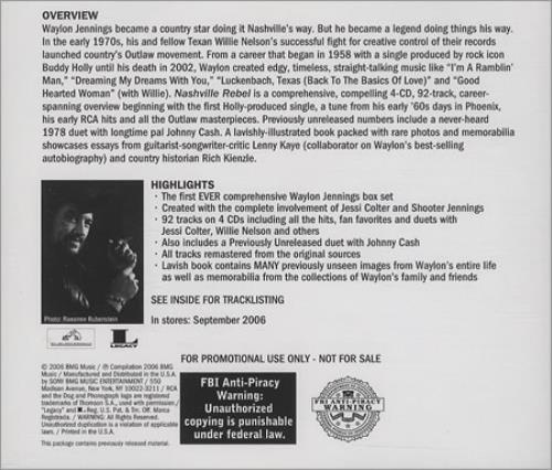 Waylon Jennings Nashville Rebel Us Promo 4 Cd Album Set