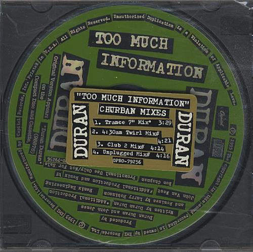 Click to view product details and reviews for Duran Duran Too Much Information Churban Mixes 1993 Usa Cd Single Dpro79256.